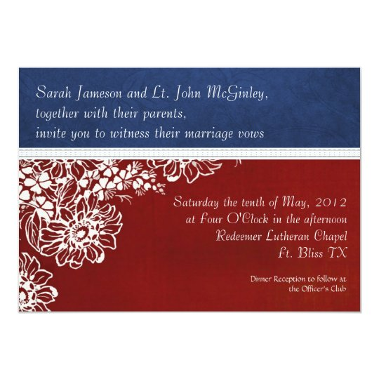 Patriotic Military Red White And Blue Wedding Invitation