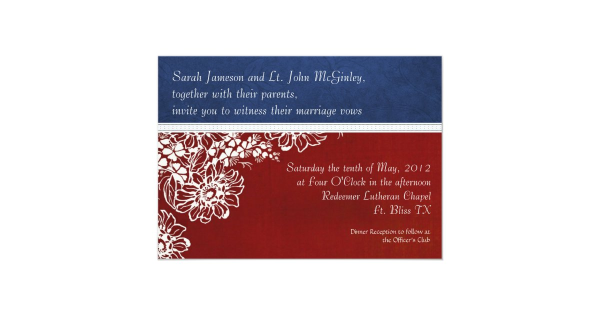 Army Wedding Invitations: Patriotic Military Red White And Blue Wedding Invitation