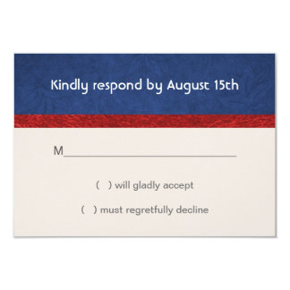 Patriotic Military Red White and Blue Wedding RSVP 3.5x5 Paper Invitation Card