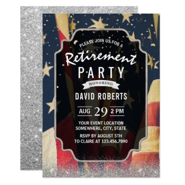 Patriotic Military Retirement Modern Silver Invitation