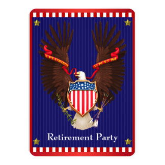 Patriotic Military Retirement Party Card