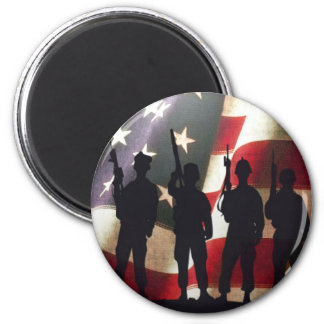 Patriotic Military Soldier Silhouette 2 Inch Round Magnet