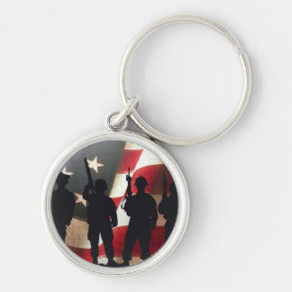 Patriotic Military Soldier Silhouette Keychain
