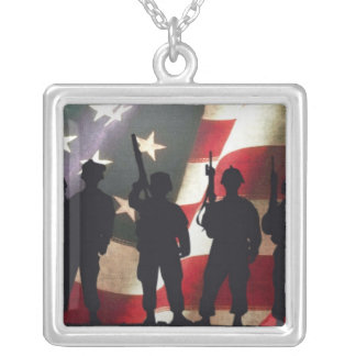 Patriotic Military Soldier Silhouette Square Pendant Necklace