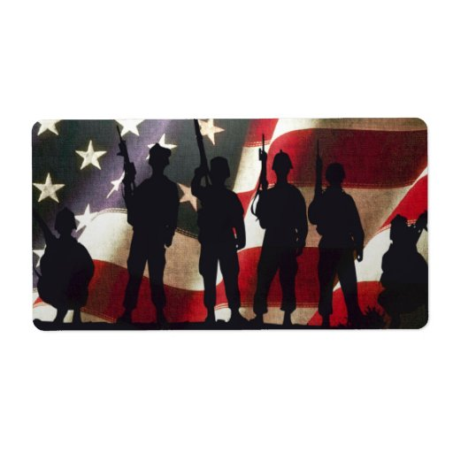 Patriotic Military Soldier Silhouettes Personalized Shipping Label