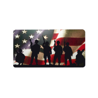 Patriotic Military Soldier Silhouettes Custom Address Labels