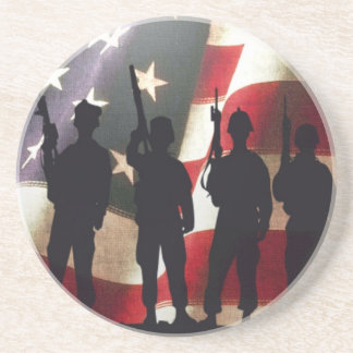 Patriotic Military Soldier Silhouettes on Flag Sandstone Coaster