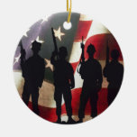 Patriotic Military Soldier Silhouettes Christmas Tree Ornament