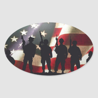 Patriotic Military Soldier Silhouettes Oval Sticker