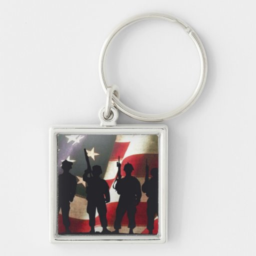 Patriotic Military Soldier Silhouettes Silver-Colored Square Keychain