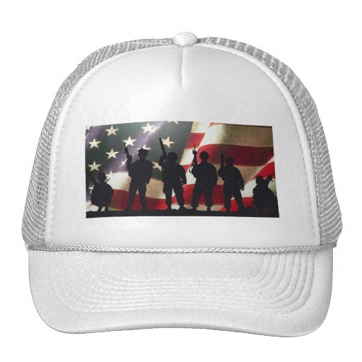 Patriotic Military Soldier Silhouettes Trucker Hat