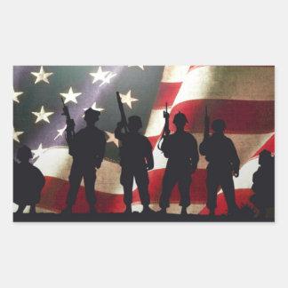 Patriotic Military Soldiers Rectangular Sticker