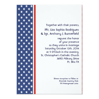 Patriotic Military Stars and Stripes Wedding Card