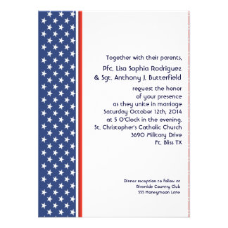 Patriotic Military Stars and Stripes Wedding Announcements