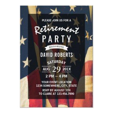 Patriotic Military Veteran Retirement Party Invitation