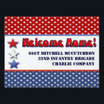 "Patriotic Military Welcome Home Personalized Lawn Sign<br><div class=""desc"">ADD &quot; H FRAME &quot; OPTION FOR YARD DISPLAY. CUSTOMIZE THE NAME OF YOUR MILITARY HERO ON PATRIOTIC STARS AND STRIPES DISPLAY IN RED WHITE AND BLUE. ANNOUNCE YOUR SERVICE MEMBER&#39;S HOMECOMING FROM IRAQ,  AFGHANISTAN,  KOREA,  GERMANY OR OTHER MILITARY DEPLOYMENT WITH STYLE. SUPPORT OUR TROOPS!</div>"