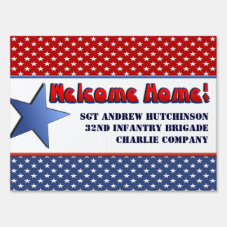Patriotic Military Welcome Home Personalized Name Lawn Sign