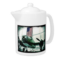 Patriotic Military WWII Plane with American Flag