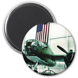 Patriotic Military WWII Plane with American Flag 2 Inch Round Magnet