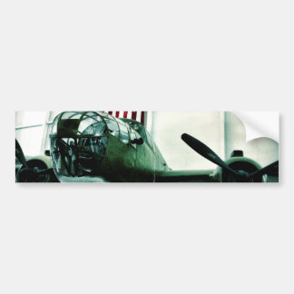 Patriotic Military WWII Plane with American Flag Bumper Sticker