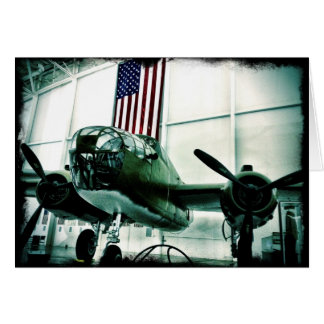 Patriotic Military WWII Plane with American Flag Card