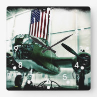 Patriotic Military WWII Plane with American Flag Wall Clock