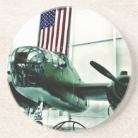Patriotic Military WWII Plane with American Flag Drink Coaster