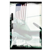 Patriotic Military WWII Plane with American Flag Dry Erase White Board