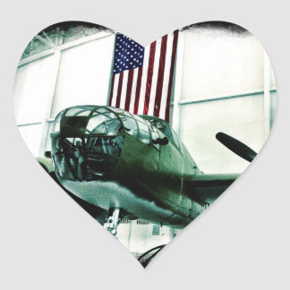 Patriotic Military WWII Plane with American Flag Heart Sticker