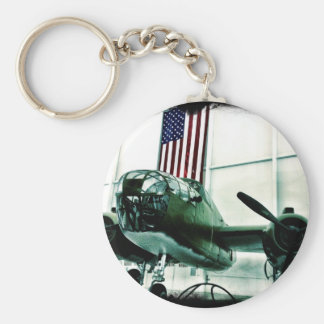 Patriotic Military WWII Plane with American Flag Keychains