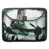 Patriotic Military WWII Plane with American Flag Sleeves For MacBook Pro