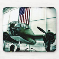 Patriotic Military WWII Plane with American Flag Mouse Pads