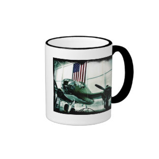 Patriotic Military WWII Plane with American Flag Mugs