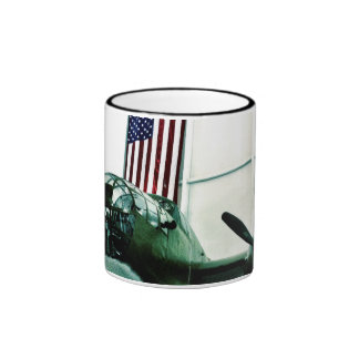 Patriotic Military WWII Plane with American Flag Coffee Mugs