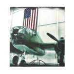 Patriotic Military WWII Plane with American Flag Note Pad