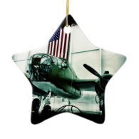 Patriotic Military WWII Plane with American Flag Christmas Tree Ornament