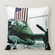 Patriotic Military WWII Plane with American Flag Throw Pillows