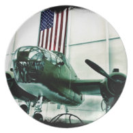 Patriotic Military WWII Plane with American Flag Dinner Plates