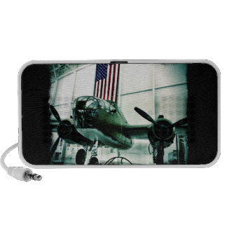 Patriotic Military WWII Plane with American Flag Laptop Speaker