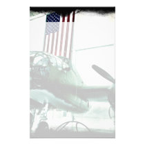 Patriotic Military WWII Plane with American Flag Stationery