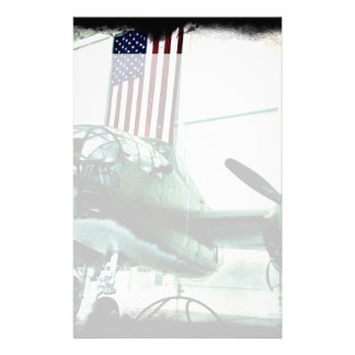 Patriotic Military WWII Plane with American Flag Custom Stationery