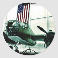 Patriotic Military WWII Plane with American Flag Round Sticker