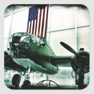 Patriotic Military WWII Plane with American Flag Sticker
