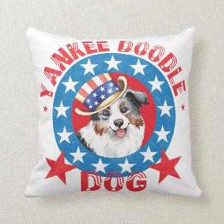Patriotic Miniature American Shepherd Throw Pillow