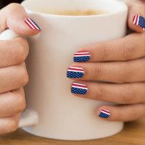 Patriotic minx nails with Flag of USA Minx Nail Wraps