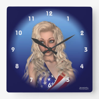 Patriotic Miss Independence Portrait Wall Clock