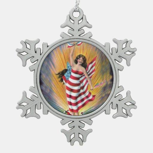 Patriotic Miss Lady Liberty USA Flag Snowflake Pewter Christmas Ornament