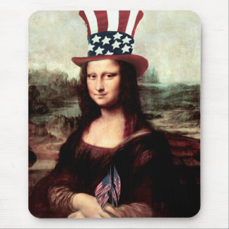 Patriotic Mona Lisa - Independence Day Mouse Pad