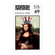 Patriotic Mona Lisa - Ready for Independence Day Postage
