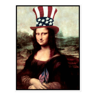 Patriotic Mona Lisa - Ready for Independence Day Postcard